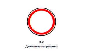 Знак — белый круг с красным ободком «Движение Запрещено»